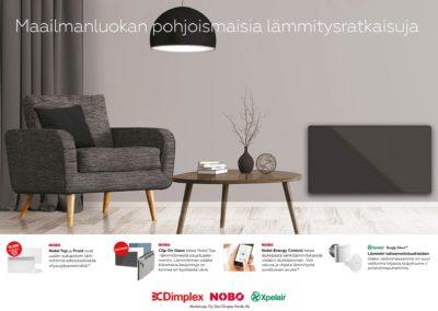 Nobø/Glen Dimplex Nordic, produktkataloger, textarbete, fotografering, mässprodukter