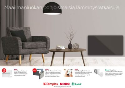 Nobø/Glen Dimplex Nordic, tuotekuvastoja, ilmoitustyötä, tekstityötä, valokuvausta, messutyötä