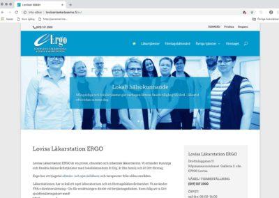 Lovisa Läkarstation Ergo, visuellt koncept, webbplats, foto, textarbete