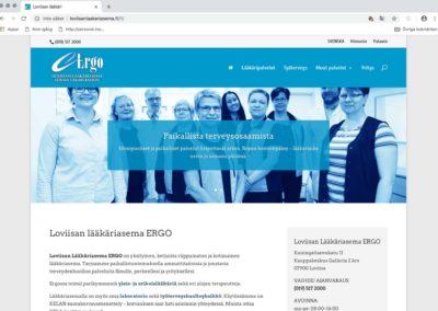 Loviisan Lääkäriasema Ergo, visuallinen konsepti, verkkosivusto, valokuvausta, tekstityötä