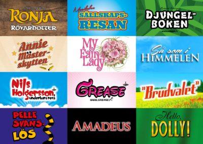 Över 30 teaterproduktioner i södra Finland, visuella koncept, scenografier, fotografering, film, programblad, affischer, annonsering, sociala medier osv.