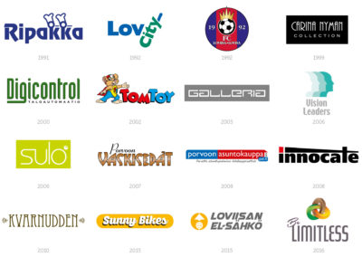 Logotyper och visuella koncept. Här några exempel från åren som gått.