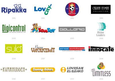Liikemerkkien ja graafisten ohjeiden suunnittelu. Ohessa muutama esimerkki vuosien varrelta.