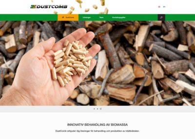 Dustcomb Ab, konceptering, visuell planering, logotyp, webbplats